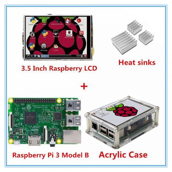 Raspberry Pi 3 Model B Board + 3 5 Inch TFT LCD Touch Screen Display +  Acrylic Case For Raspbery Pi 3 orange pi