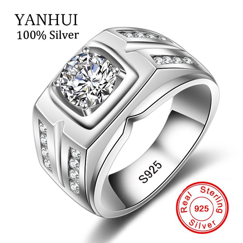 YANHUI Original Natural 925 Silver Rings For Men Sona 1 Carat ...