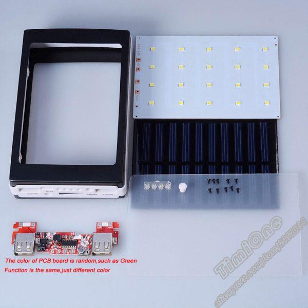 (No Battery)Universal 5V PCBA Power Bank Solar DIY Box Dual USB with LED  Light 5x18650 Solar Powerbank DIY KIT