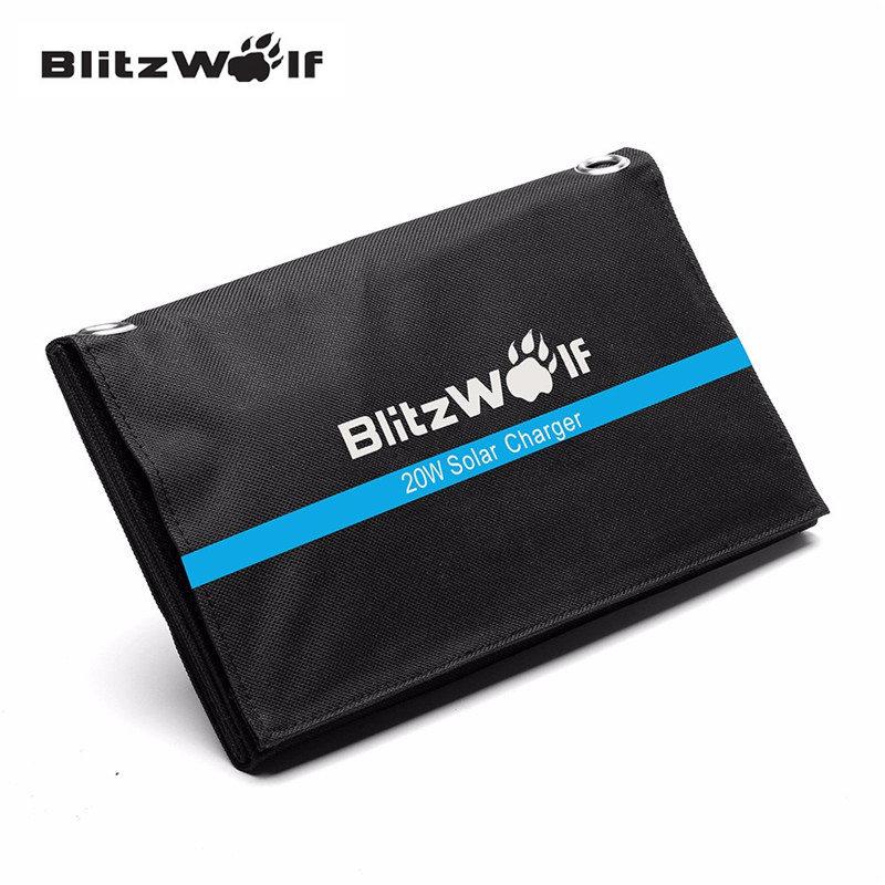 Blitzwolf 20w 3a Portable Solar Power Bank Foldable